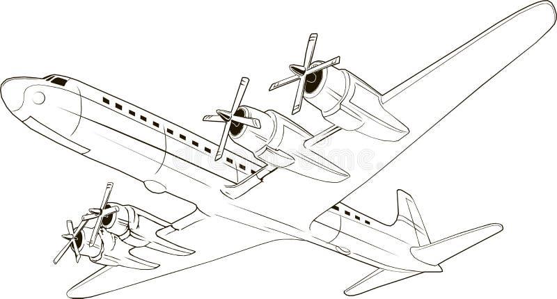 Velivolo di vintage per passeggeri, arte vettoriale, monogramma, isolato, disegno a mano, 4 motori, elica illustrazione di stock