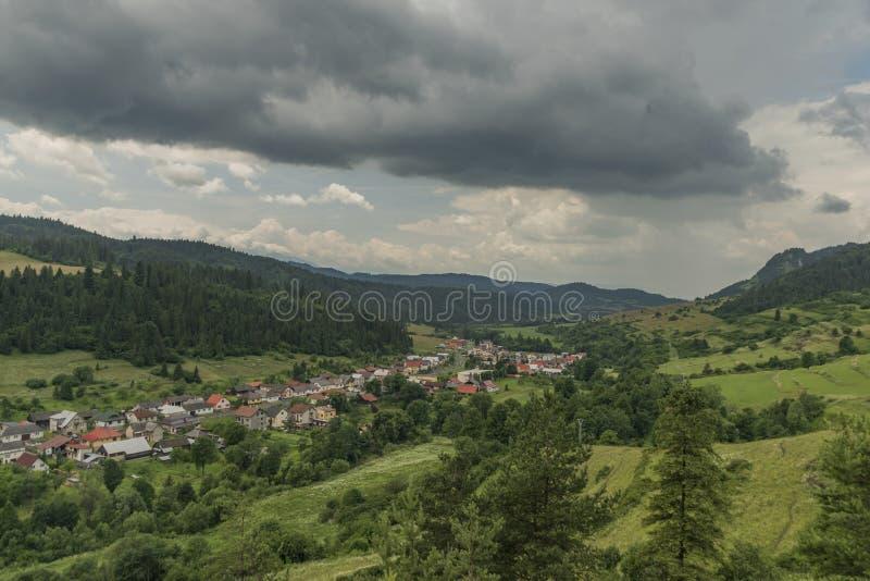 Velky Lipnik village in Pieniny national park. In dark cloudy day royalty free stock photography