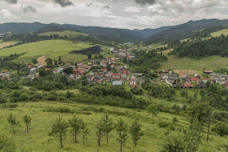 Velky Lipnik village in Pieniny national park. In dark cloudy day stock photo