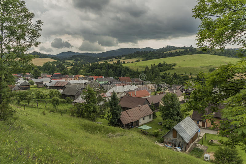 Velky Lipnik village in Pieniny national park. In dark cloudy day royalty free stock images