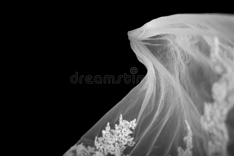 Velo nupcial en Backgroind negro fotos de archivo