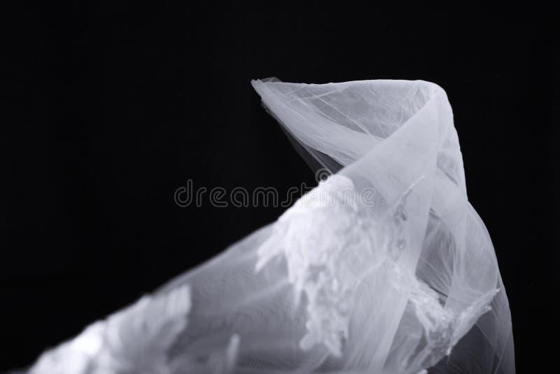 Velo nupcial en fondo negro imagen de archivo