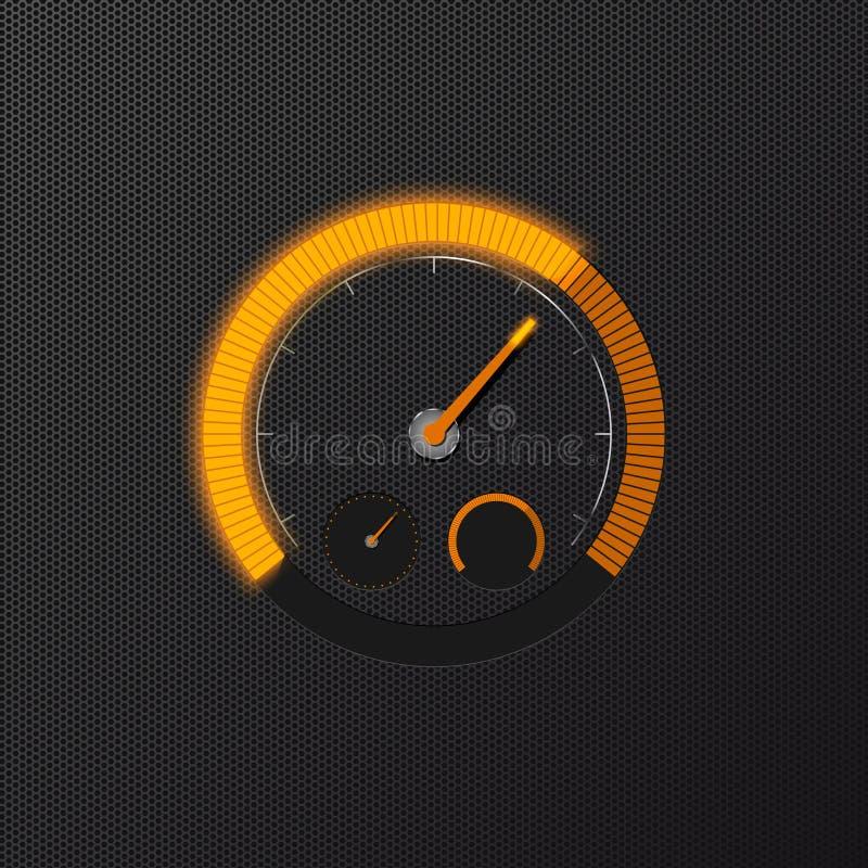 Velocímetro anaranjado en fondo del carbono ilustración del vector