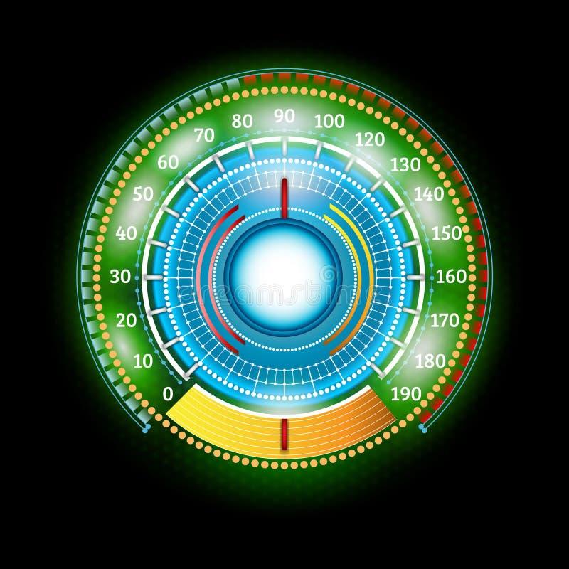 Velocímetro brilhante verde abstrato redondo do carro com indicadores da seta ilustração do vetor