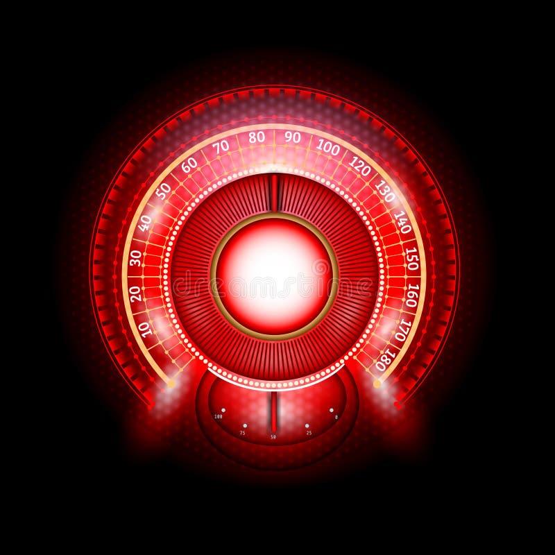 Velocímetro brilhante vermelho abstrato redondo do carro com indicadores da seta ilustração do vetor