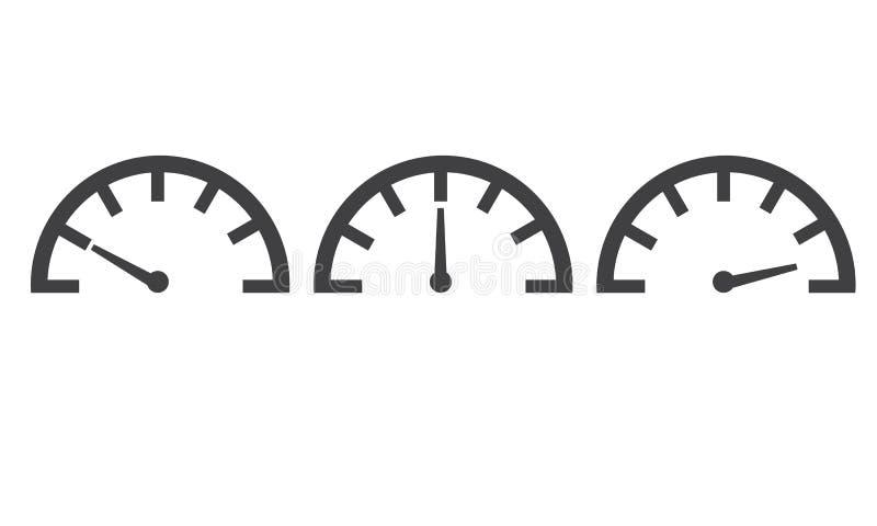 Velocímetro com níveis diferentes ilustração stock