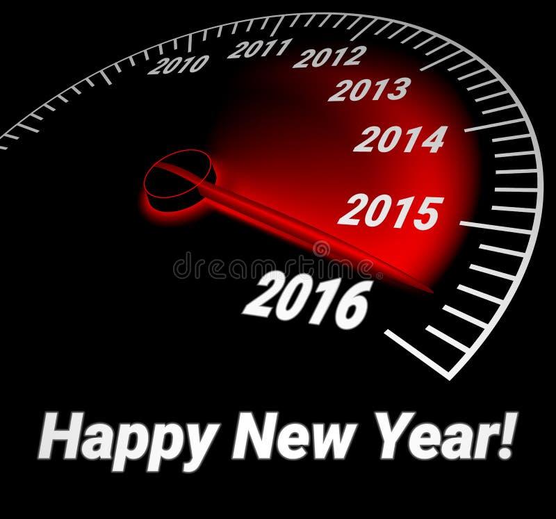 Velocímetro con la fecha del año 2016 stock de ilustración