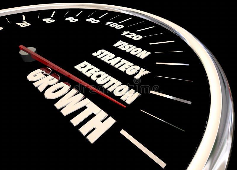 Velocímetro da execução da estratégia da visão do crescimento ilustração stock