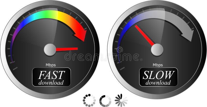 Velocímetro da transferência/transferência de arquivo pela rede Ícones da transferência do progresso velocidade rápida/lenta 3 ilustração royalty free
