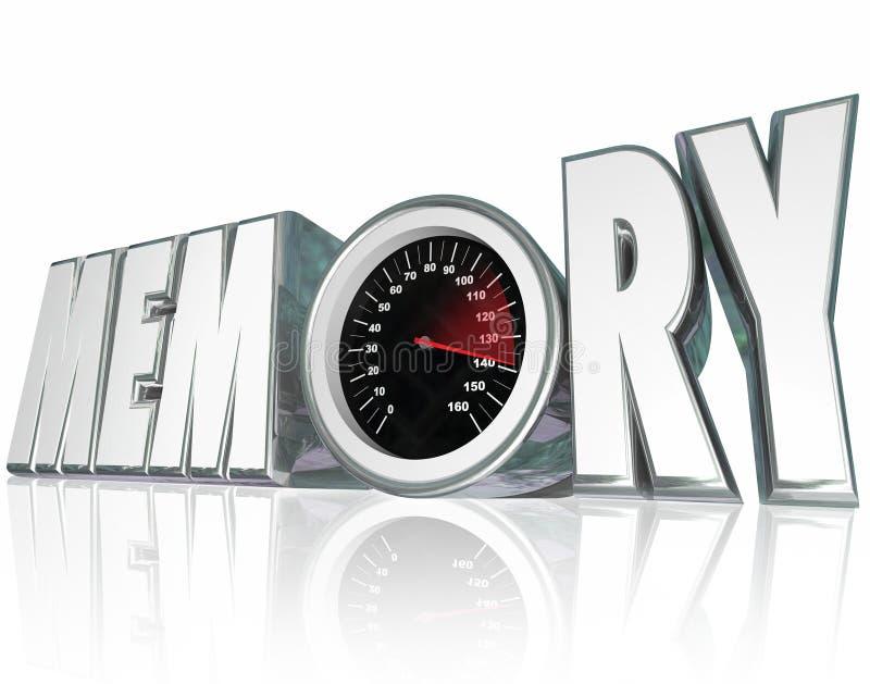 Velocímetro de la palabra de la memoria 3d que mejora salud mental de memoria ilustración del vector