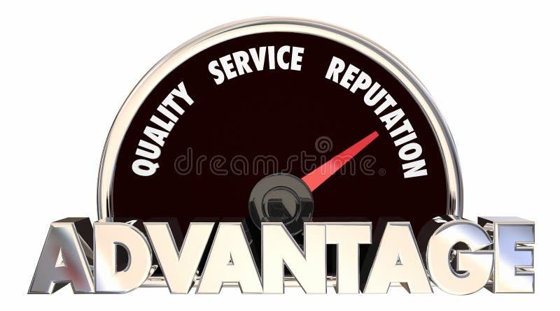Velocímetro de la reputación del servicio de calidad de la ventaja ilustración del vector