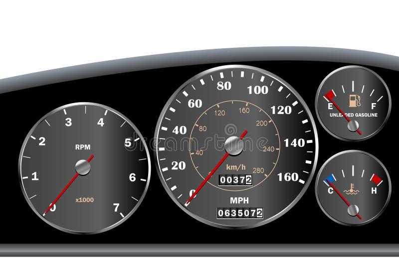 Velocímetro del tablero de instrumentos del coche para el motor o sportscar ilustración del vector