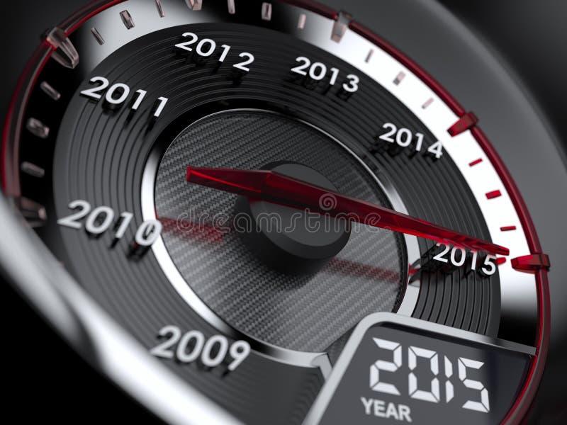 velocímetro do carro de 2015 anos ilustração do vetor