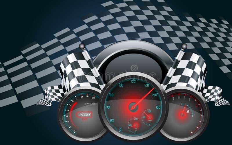 Velocímetro do carro e bandeiras quadriculado ilustração stock
