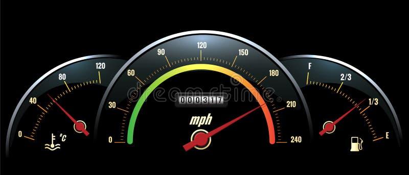 Velocímetro do vetor Indicador e combustível da temperatura ilustração stock