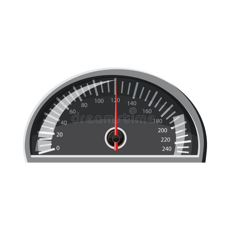 Velocímetro 120 quilômetros no ícone da hora, estilo dos desenhos animados ilustração stock
