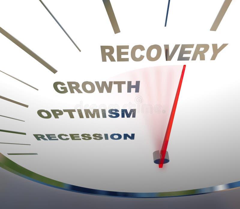 Velocímetro - recuperación de la recesión stock de ilustración