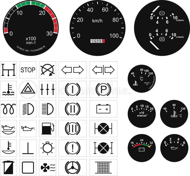 Velocímetros e botões ilustração do vetor