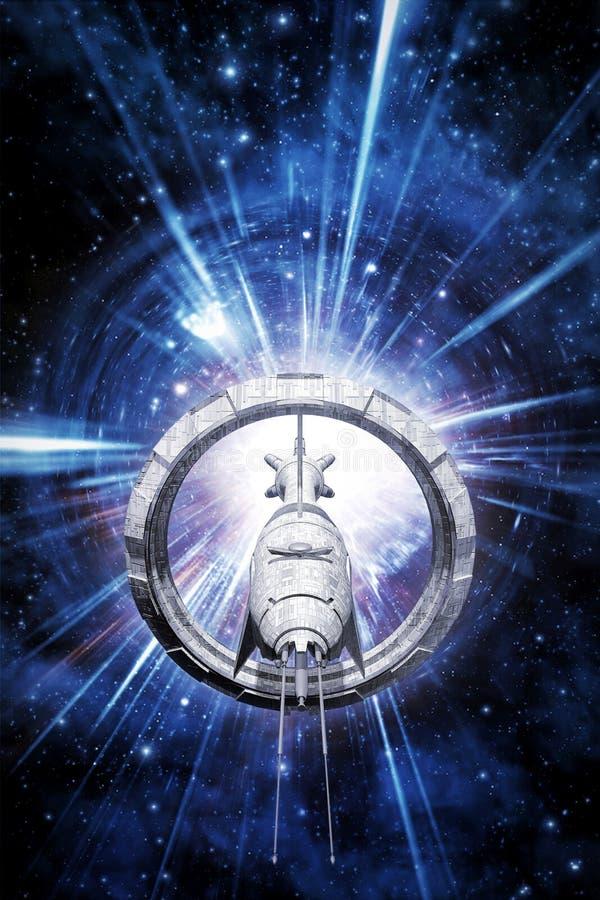 Velocidad de la deformación de la nave espacial ilustración del vector