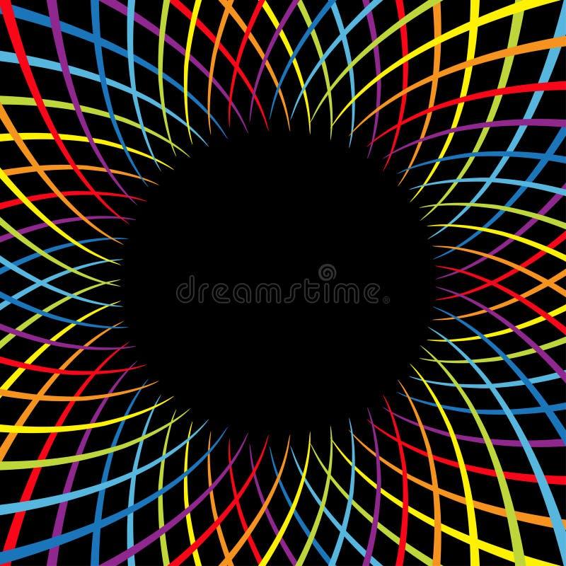 Velocidad de la flor del espiral del color del arco iris Línea brillante sistema del movimiento colorido del remolino Plantilla q libre illustration