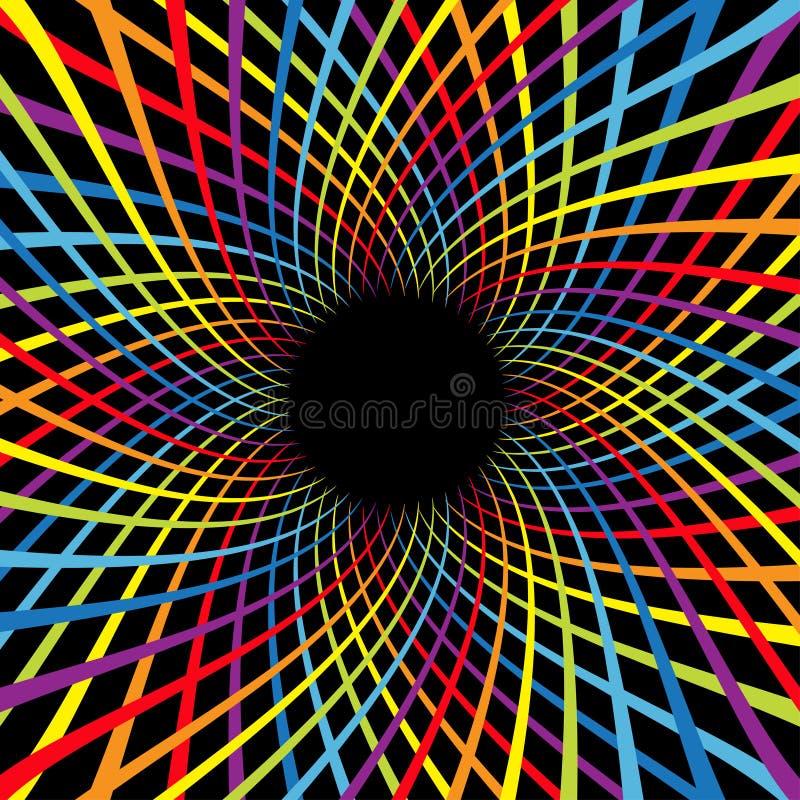 Velocidad de la flor del espiral del color del arco iris Línea brillante sistema del movimiento colorido del remolino Plantilla q ilustración del vector