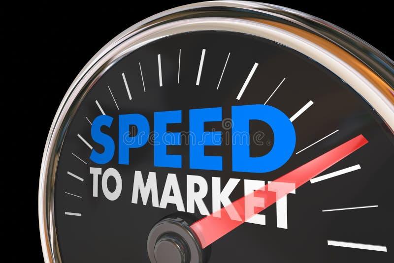 Velocidad para comercializar el velocímetro rápido del desarrollo de productos stock de ilustración