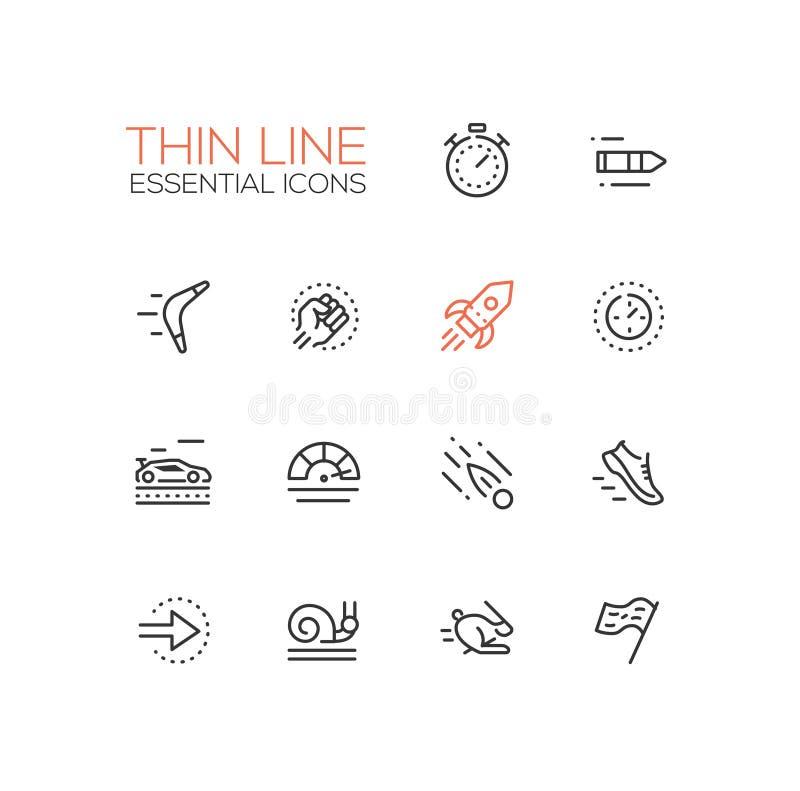 Velocidade - única linha fina ícones do vetor moderno ajustados ilustração stock