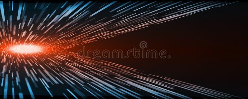 Velocidade abstrata da urdidura do movimento do retângulo da perspectiva da tecnologia com luz vermelha de incandescência do núcl ilustração royalty free