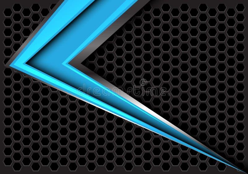 Velocidade azul abstrata da seta na obscuridade - vetor futurista moderno do fundo do projeto cinzento da malha do hexágono ilustração do vetor