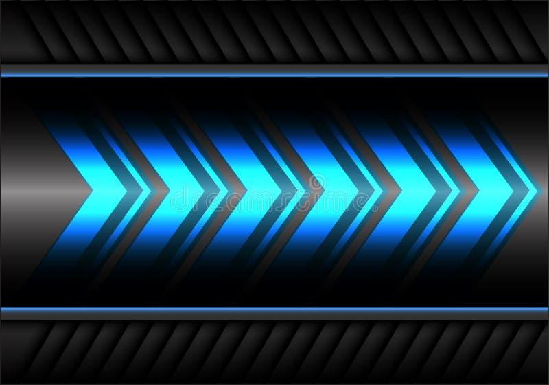 Velocidade azul abstrata do poder da luz da seta no vetor futurista moderno do fundo do projeto cinzento do metal ilustração stock
