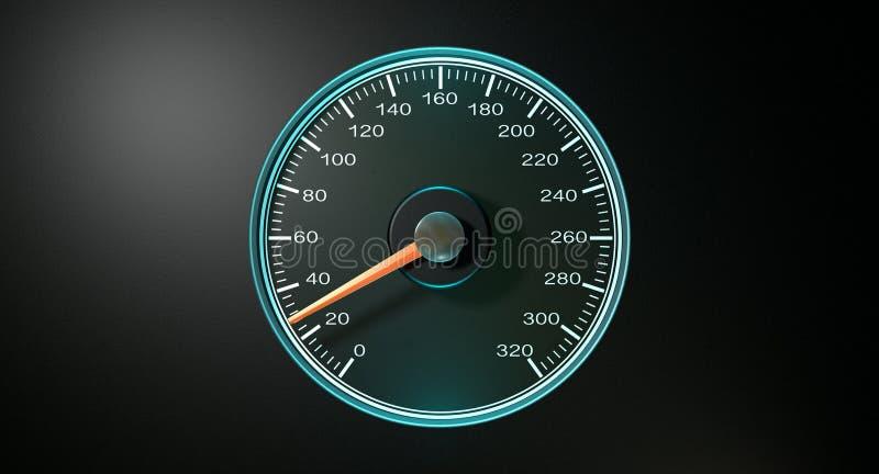 Velocidade rápida azul do velocímetro ilustração royalty free