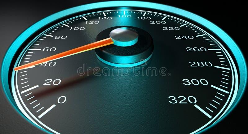 Velocidade rápida azul do velocímetro ilustração stock