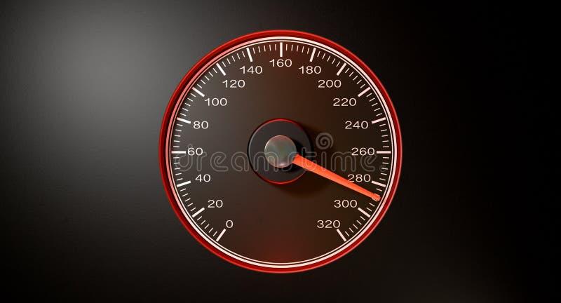 Velocidade rápida vermelha do velocímetro ilustração royalty free