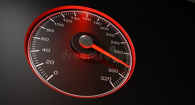 Velocidade rápida vermelha do velocímetro ilustração do vetor
