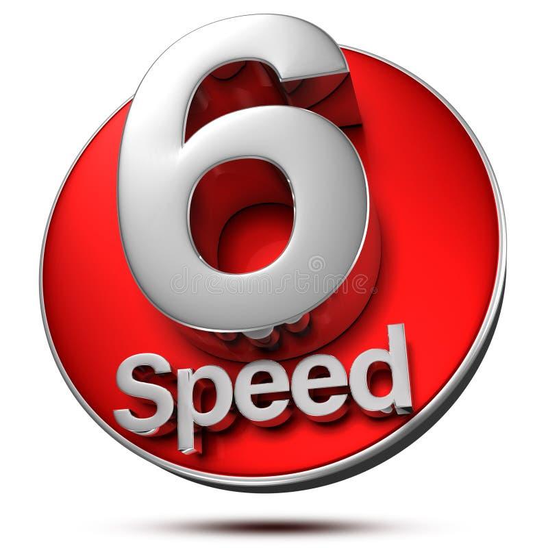 6 velocidades 3d ilustración del vector
