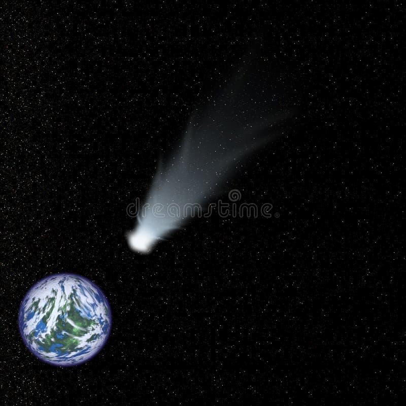 Velocidades do cometa para a terra ilustração do vetor