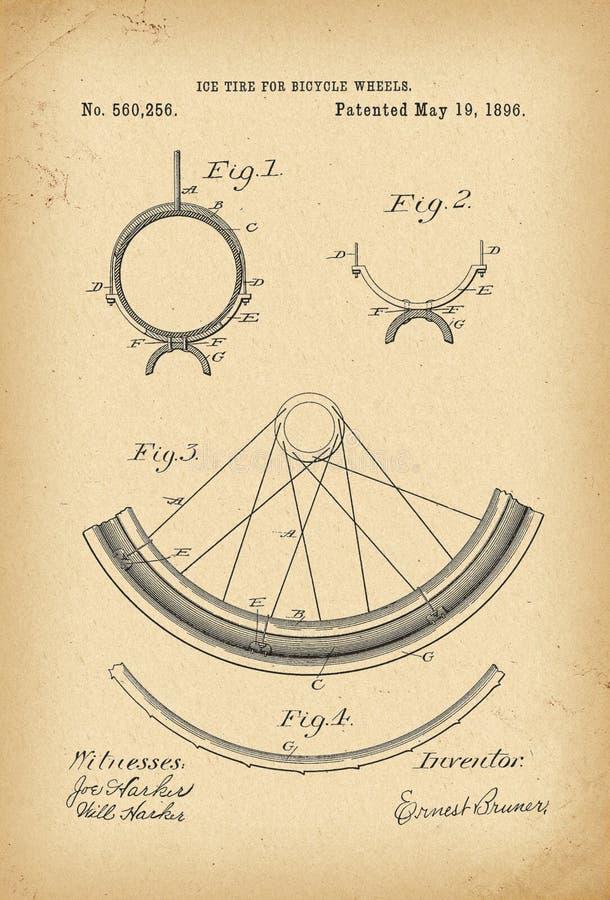 1896 Velocipede διπλωμάτων ευρεσιτεχνίας αρχειακή εφεύρεση ιστορίας ποδηλάτων ροδών απεικόνιση αποθεμάτων