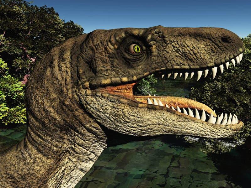 Velociraptor η τρισδιάστατη απόδοση δεινοσαύρων στοκ εικόνες