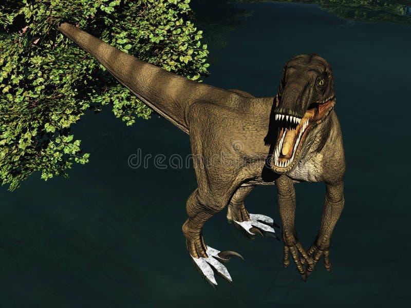 Velociraptor η τρισδιάστατη απόδοση δεινοσαύρων στοκ φωτογραφίες