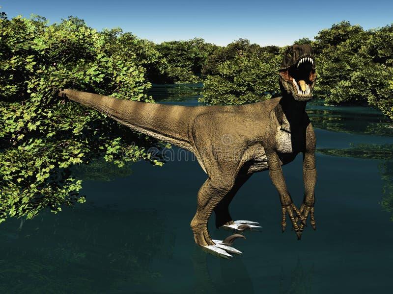 Velociraptor η τρισδιάστατη απόδοση δεινοσαύρων στοκ φωτογραφία