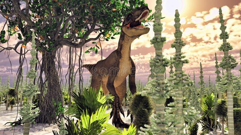 Velociraptor η τρισδιάστατη απόδοση δεινοσαύρων στοκ εικόνα