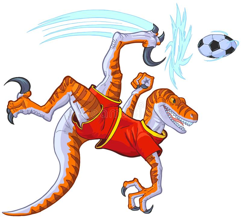 Velociraptor Bicycle Kicking Soccer Ball Vector Illustration. Cartoon clip art illustration of a velociraptor dinosaur in uniform bicycle kicking a soccer ball stock illustration