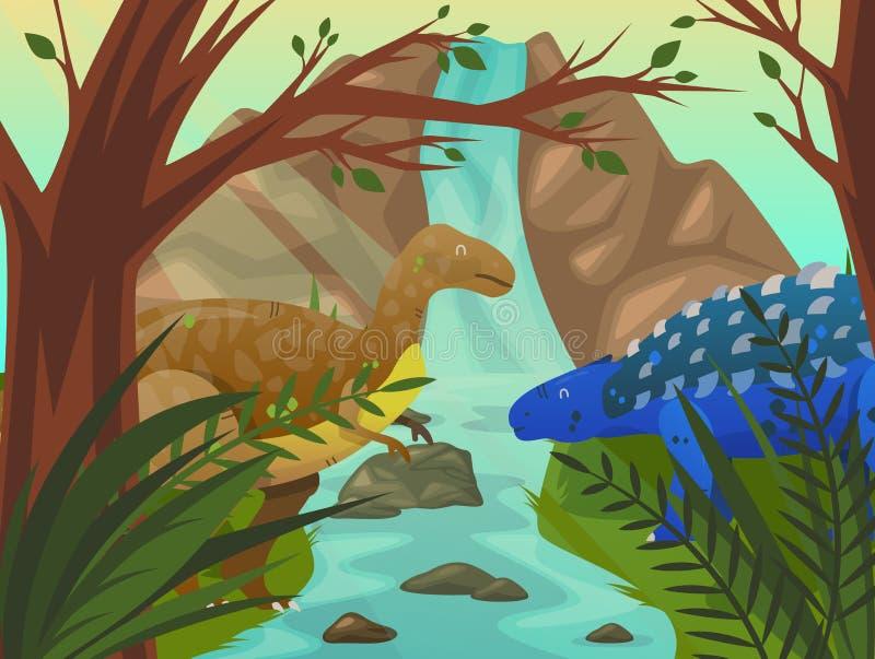 Velociraptor et stegosaurus de dinosaure à la nature illustration de vecteur