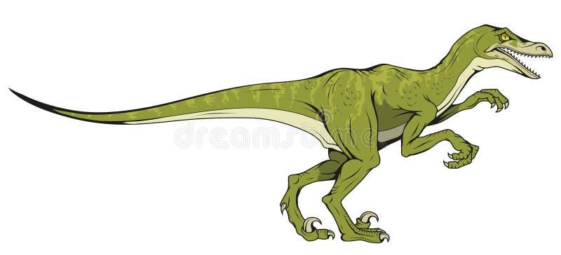 Velociraptor hand drawn dinosaur stock illustration