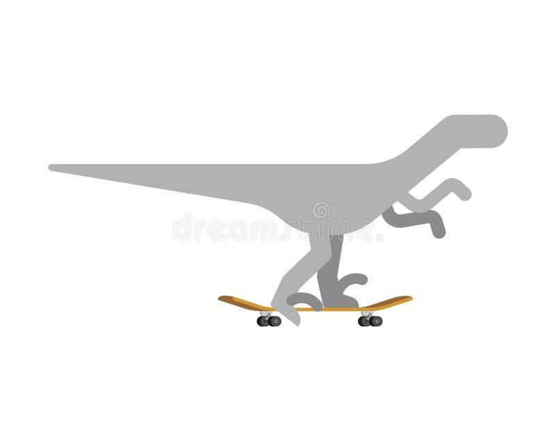 Velociraptor no skate Dino Skateboarder Longboard pré-histórico da equitação do monstro do lagarto ilustração stock