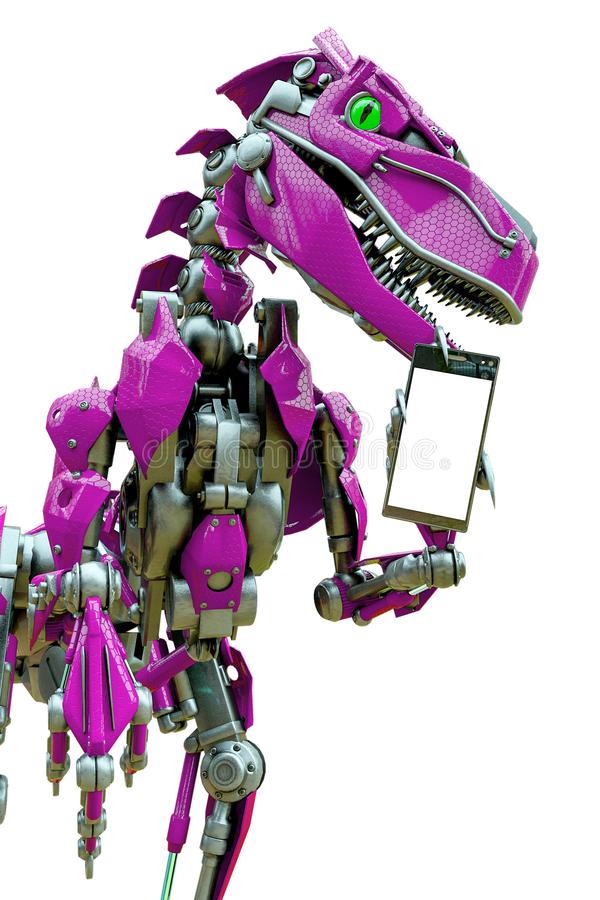 Free Velociraptor Robot Holding A Cellphone Side View Stock Photos - 165158423