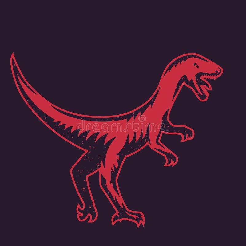 Velociraptor rov- dinosaurie, rött over mörker stock illustrationer