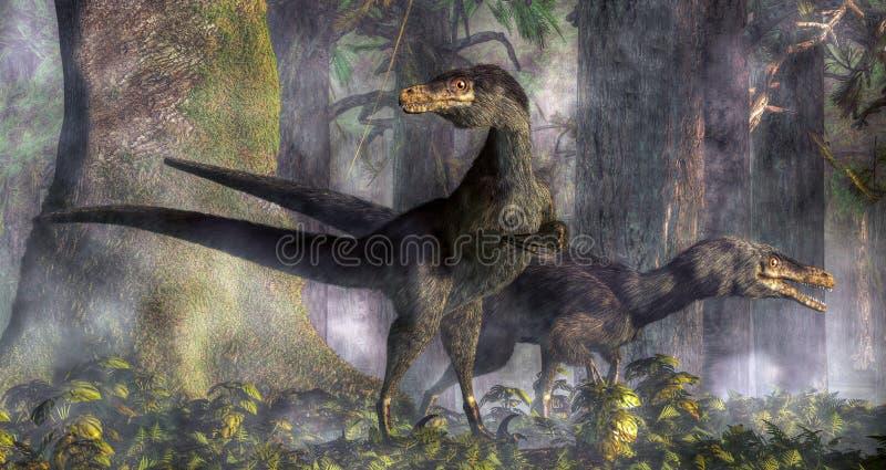 Velociraptors que caçam na floresta ilustração stock