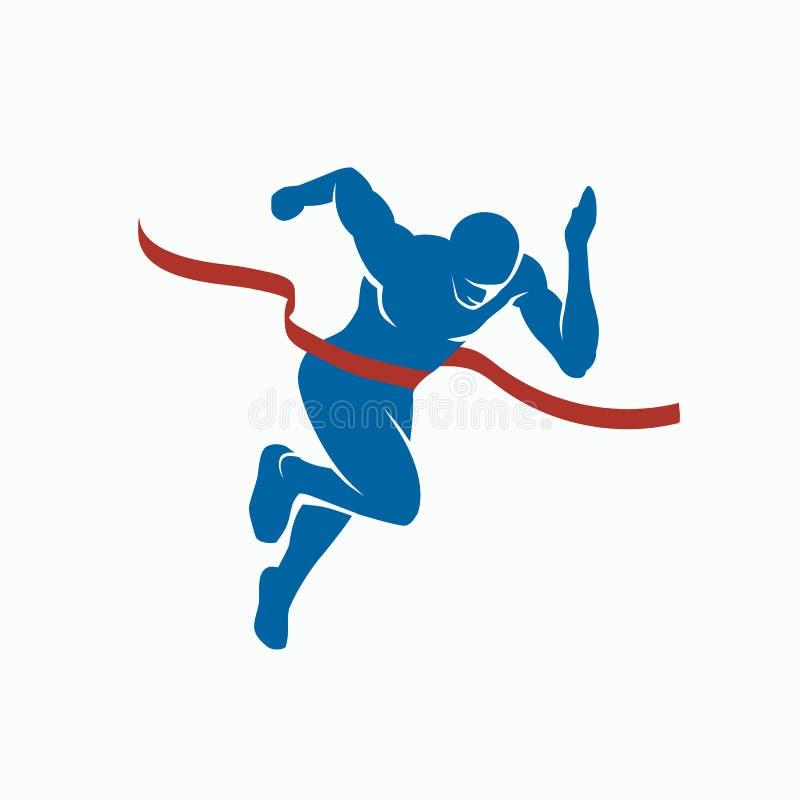 Velocista e fita do revestimento Silhueta do vetor dos esportes do vencedor ilustração do vetor
