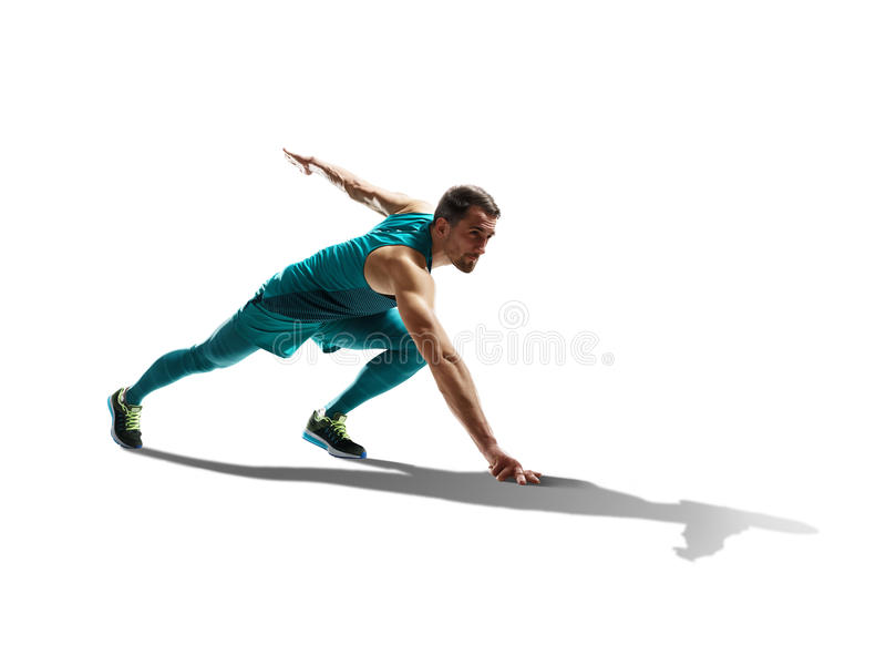 Velocista masculino que corre no fundo isolado imagens de stock